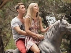 Adorable blondie teen Anjelica pussy fucked outdoors