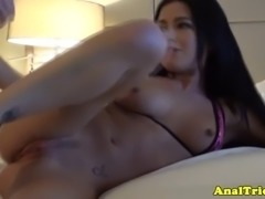 Anal loving gf assfingered while fucking his hard cock