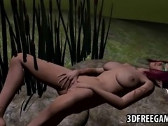 Mouth watering 3D cartoon redhead sex kitten rubbing her hands all over herself outdoors