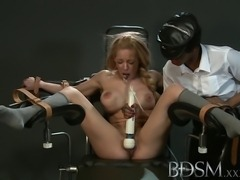 Big breasted subs are tied up and pumped before squirting