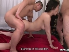 Ravishing Japanese tart with a pair of large knockers gobbles up three erect boners. She has her lovely pussy bonked hard during wild oral sex.