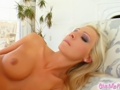 Jordan is a sexy blonde with an amazing body. She strips down revealing her perfect pussy. Jordan masturbates with a dildo.