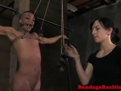 Tied up ebony bdsm slave Nikki Darling tormented with nipple clamps