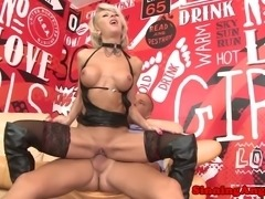 Alt grannie with pierced pussy and leather outfit is riding dick