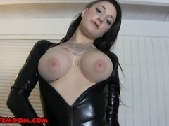 Ashton Vena is wearing a shiny, high cut bodysuit, black pantyhose, and heels.  She knows she looks fucking hot.  She calls you pathetic, and tells you to jerk off and eat your cum for her.  She teases you with her body, and even masturbates with a vibrator in front of you.  She gets off to humiliating men.  CUM EATING INSTRUCTION, JERK OFF INSTRUCTION, 18 YEAR OLD FEMDOM, HEELS, BLACK PANTYHOSE, HIGH CUT BODYSUIT, VIBRATOR, BIG TITS