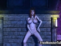 Beautiful big breasted 3D cartoon redhead hottie fingering and toying her soaking wet pussy