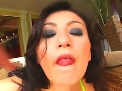 Hot ass hooker Bianca with dark heavy make up and firm hooters in green bikini has mouth full with stiff cock while two clients are drilling her holes at the same time.