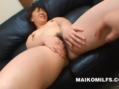 Japanese MILF Junko Takeyama's pussy is dripping as it gets toyed with vibrators and then fucked by a hard cock.