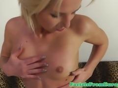 Blonde euro cumshot skank facialized following pov drilling