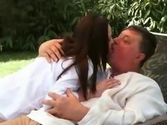 Sexy teen brunette fucking a grandpa outdoor