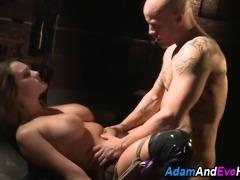 Busty kinbaku bound sub sucks and rides cock in kinky fetish fuck