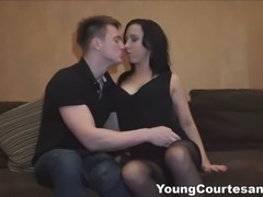 This sexy tattooed chick sure knows how to be a good escort. She never keeps her favorite client waiting and pleases him well getting her shaved pussy fingered, licked and fucked like a real girlfriend. Any guy wants to feel like he's the best lover in the world and this young courtesan makes her client feel this way moaning out loud and enjoying a fantastic orgasm. Of course she makes him cum too, right on her ass and her sexy tattoo. What a pro!