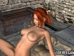 Boner inducing 3D cartoon redhead hottie getting her wet pussy pounded hard by a golem