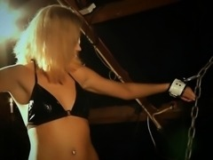 Chained blonde slave sucking Master\'s horny dick