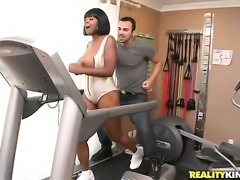 Cocoa Stacy Adams with juicy bottom and bald muff is in heaven sucking Voodoos sturdy sausage