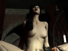 Pale 3D brunette babe gets fucked by a vampire