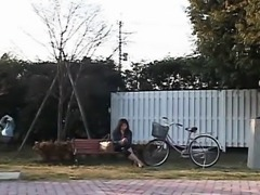 Subtitled Japanese woman painted to mimic park statue