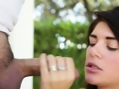 Brunette facialized outdoors