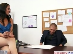 Busty brunette Abby Lee Brazil fuck in office