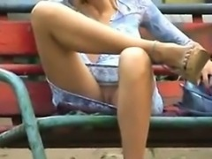 Flashing Her Pussy At The Park