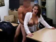 Busty business woman banged by pawn man in the backroom