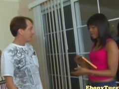 Adorable ebony tugging teen with older dude