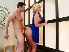Phoenix Marie is a gorgeous blond-haired milf porn star in sexy blue shoes, Busty woman with round ass gets her experienced  meaty pussy stuffed from behind by her horny fuck buddy.