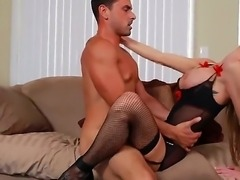 Slender blond-haired MILF Nadia Hilton is incredibly sexy in her black lingerie. Gorgeous wife with long legs and big tits gets her totally shaved tight pussy banged as hard as possible by horny stud.