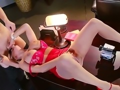 Alyssa Lynn is a hot blonde girl with huge boobs wearing red heels and red lingerie, who sucks dick and gets fucked real hard on the desk in the guys office.