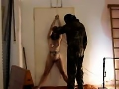 my tied helpless slave whiped all over her body