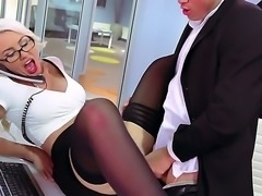 Big titted blonde secretary Gigi Allens in tempting red and black lingerie shows her love for fucking! Bespectacled hottie with amazing boobs gets her pink hole drilled with her tight panties on. This nasty secretary loves hardcore sex!