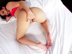 Solo girl ass fingering action