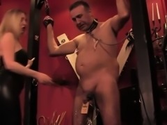 Mistress dominating stupid sub with clamps