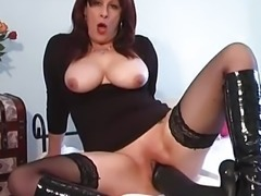 """Mature amateur fucking a massive black dildo"""