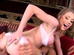 Lovely babe Shawna Lenee in white lingerie gets her tight shaved pussy fucked silly by a horny man. Long legged temptress has a good time getting her vagina pounded by Danny Mountain.