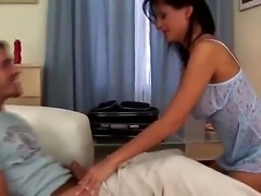 James Brossman and Alison Star are on the bed and they are having sex. The busty girl is sucking a dick and is playing with her sexy pussy lips.