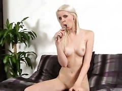 Samantha Heat with small tities and clean pussy touches her twat and melons playfully