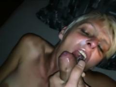 Mature blonde with short hair sucking dick
