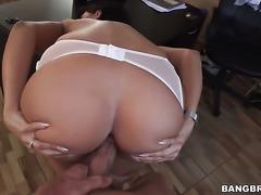 Hot secretary is giving a blow job