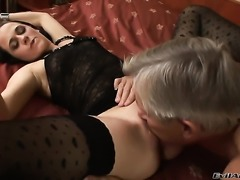 Terry C opens her mouth invitingly in cock sucking action with Christoph Clark after anal sex