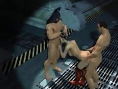 3D Harley Quinn double teamed by Batman and Robin