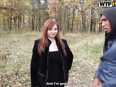 Redhead Odile gets her mouth destroyed by dudes man meat