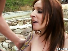 Big titted MILF redhead Paris Kennedy banged outdoors