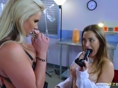 Big titted blonde MILF Phoenix Marie seduces sweet lesbian doctor Dani Daniels with ease. They suck each others juicy tits and play with each others wet pussy in the hospital