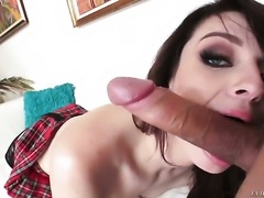 Aspen Ora is horny as hell and sucks Mick Blues stiff man meat with wild passion before backdoor sex