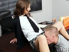 Teacher makes schoolgirl fuck with him for admirable marks