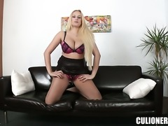 Irresistibly sexy porn diva Angel Wicky strokes the sperm out of dudes cum loaded love torpedo
