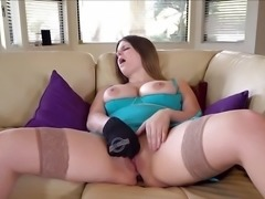 """Wild babe dildo fucks her hot pussy"""