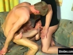 Slim brunette gets two dicks