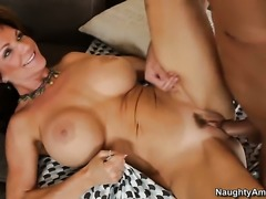Brunette with big jugs and bald cunt is on the way to orgasm in anal action